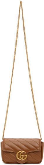 Gucci Brown Super Mini GG Marmont 2.0 Shoulder Bag