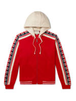 Gucci - Webbing-Trimmed Tech-Jersey Zip-Up Hoodie - Men - Red - S