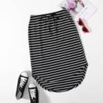 Knot Waist High-low Curved Hem Striped Skirt