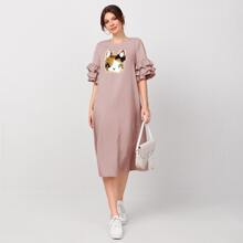 Layered Sleeve Sequin Patched Dress
