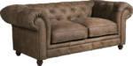 Max Winzer Chesterfield-Sofa Old England, 2-Sitzer Ledersofa mit Knopfheftung & Ziernägeln, Breite 192 cm