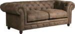 Max Winzer Chesterfield-Sofa Old England, 2,5-Sitzer Ledersofa mit Knopfheftung & Ziernägeln, Breite 218 cm