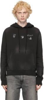 Off-White Black Vintage Logo Slim Hoodie