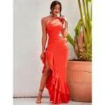 One Shoulder Asymmetrical Hem Satin Dress