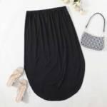Plus Solid Curved Hem Straight Skirt