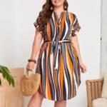 Plus Striped Print Belted Curved Hem Dress