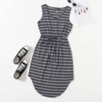 Plus Striped Print Curved Hem Dress