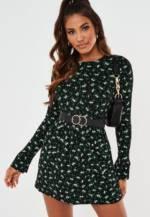 Smock-Kleid aus Jersey mit Blumenmuster in Schwarz