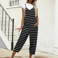 Striped Print Slant Pocket Cami Jumpsuit