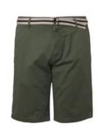 TOM TAILOR Herren Gemusterte Bermuda-Shorts mit Gürtel, grün, Gr.46