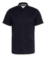 Tommy Hilfiger Kurzarm-Hemd Slim Fit Mit Stehkragen blau