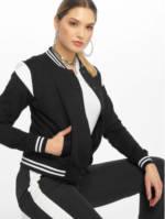 Urban Classics Frauen College Jacke Inset in schwarz
