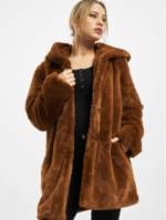 Urban Classics Frauen Mantel Ladies Hooded Teddy in braun