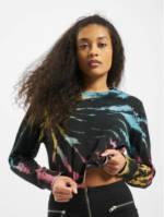 Urban Classics Frauen Pullover Ladies Tie Dye Cropped in schwarz
