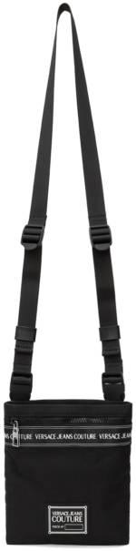 Versace Jeans Couture Black Range Brand Stripe Messenger Bag