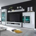 Wohnzimmer Anbauwand in Weiß Hochglanz LED Beleuchtung (vierteilig)