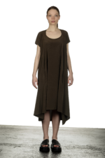Y's Yohji Yamamoto Damen Asymmetrisches Kleid in A-Linie khaki