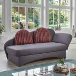 Ausklappbares Sofa in Grau und Rot gestreift Bettkasten