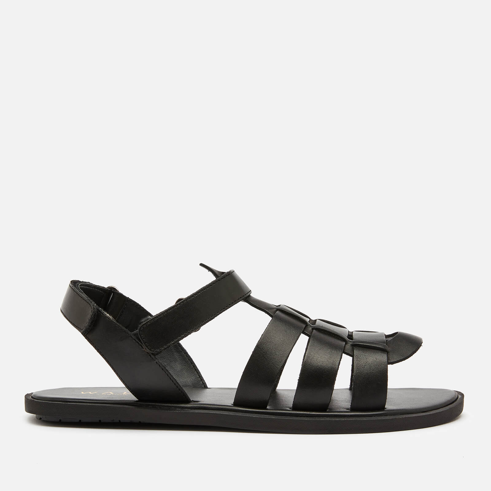 Walk London Men's Leather Gladiator Sandals - Black - UK 8